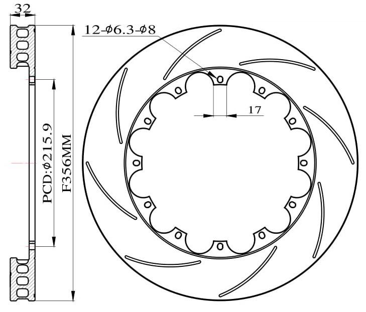 Tarcze hamulcowe nacinane do zestawu Big Brake 356mm 2009-2015 - GRUBYGARAGE - Sklep Tuningowy